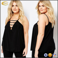 Ecoach fashion fat women's customized plus size Cut Out Front Plunge Cami Top 95% cotton 5% spandex tank top woman top tank