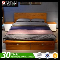 Contemporary Wooden Double Bed Frame Designs With Storage B-814