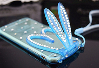 New and hot attractive style tpu phone cover case , Lovely Diamond Rabbit Ear Stand Cell Phone Case for iphone 6