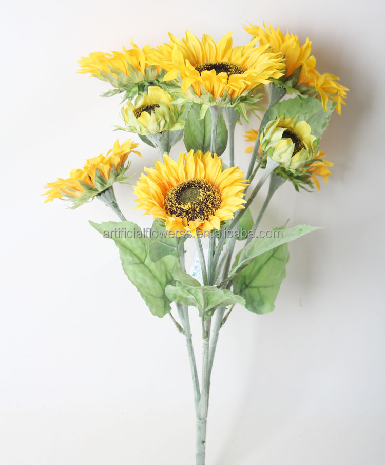 Flower arrangement fake brown sunflowers plastic