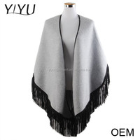 wholesale Custom winter ladies fancy tassel knitted pattern cashmere poncho shawl sweater