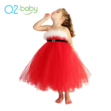 Q2-baby Hot China Products Wholesale Xmas Red Kids Party Christmas Dress For Girls