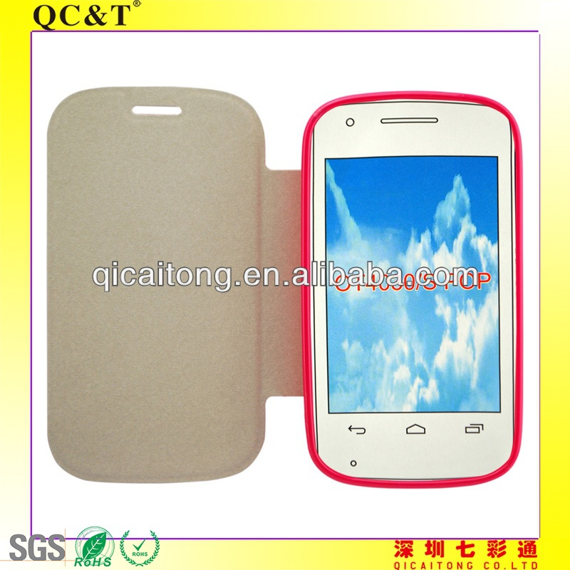 TPU+PU leather stand case for alcatel pop c3 ot4033