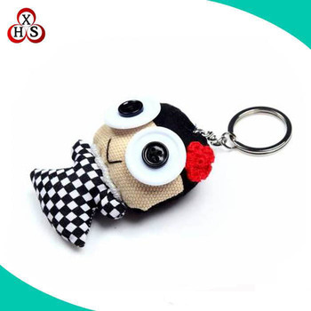 customized cute big eyes handmade animal cotton keychain