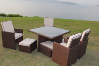 Outdoor Furniture 9 Piece outdoor furnitue dining set/outdoor rattan wicker furniture