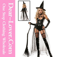 4pcs Halloween Miss Witch Doll Fancy Dress Costume