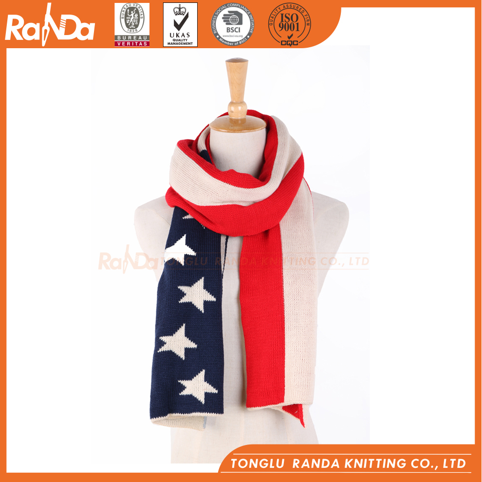 Hot sell cheap 100%acrylic red white pom scarf