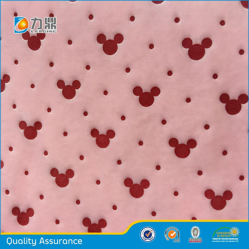 Adhesive super soft Mickey mouse pattern poly fabric for toys,slippers,bolster,mat