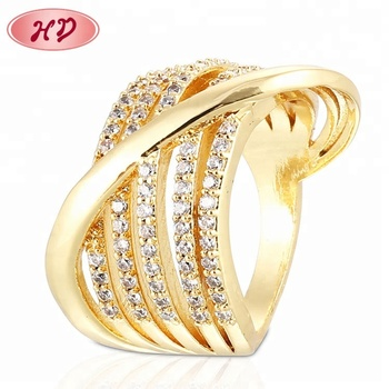 Entwined Diamond Ring Dubai Copper Alloy Brass Rings Gold Rings