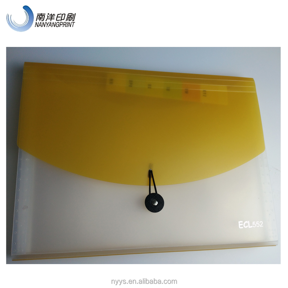 Flap Yellow Plastic Document File Folder With Strip And Button Closure