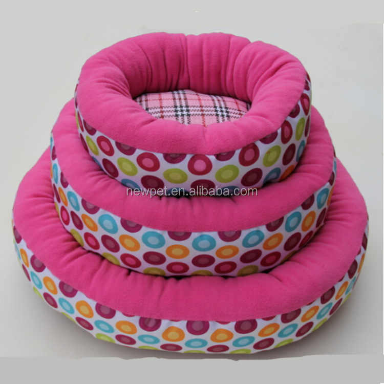 Durable service hot sell plush fabric plain bed factory directly pink large dog beds