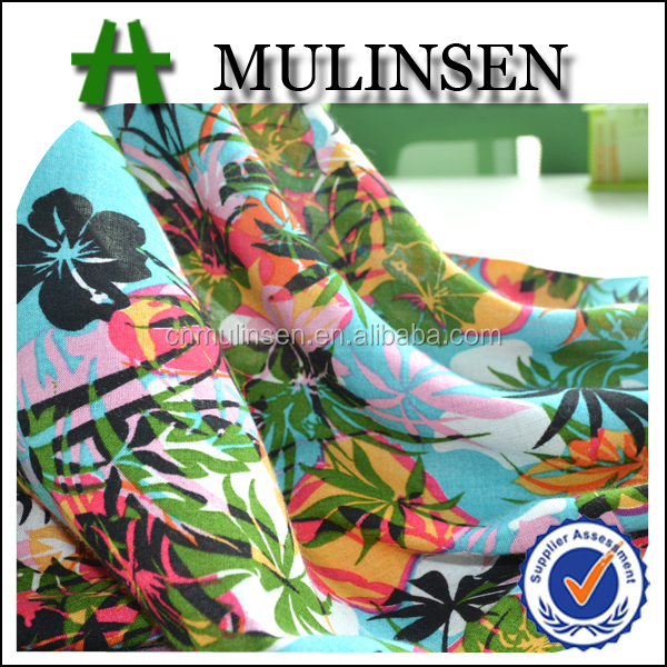 Mulinsen Textile Soft Hand Feeling Plain Woven Tropical Printed Rayon Voile 60s Fabric For Women Dress