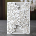 Unique Design White Elegant Laser Cut Greeting Invitation Card