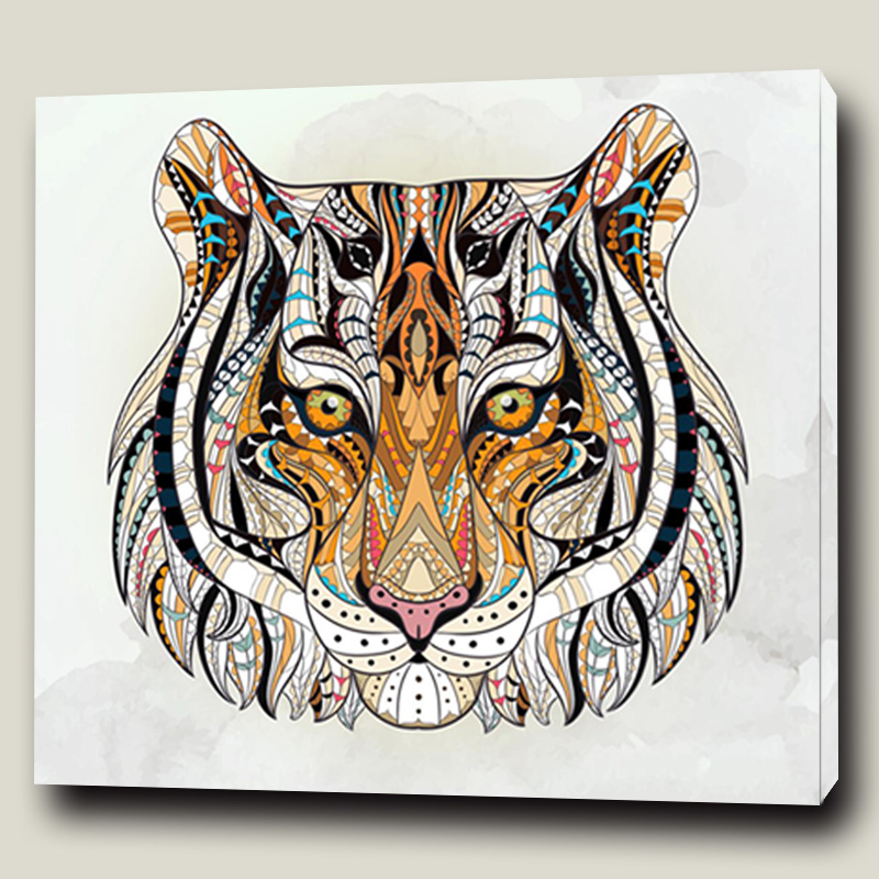 Animal Craft Wall Art Stretched Canvas Frame Painting Tiger Head Print Decor Fabric Picture
