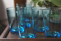 solid turquoise color tumbler handmade old-fashioned glass