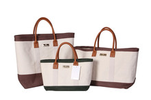 White Color Split Joint Durable Canvas Shopping Bag Tote Bag with Leather Handles