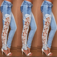 Hot style bud silk side stretch jeans trousers