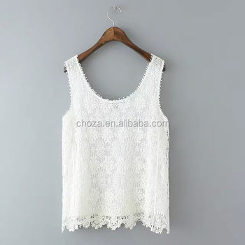 C22717B Summer Style Ladies Tops With Lace Patchwork Fashion Fitness Women White Tank Top Sexy Hollow Out Sleeveless Tanks