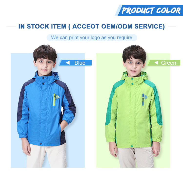 Wholesale Kids Rain Coat Block Color Water Repellent Reflective Tops Heath clothes for Boy 5-16 Years