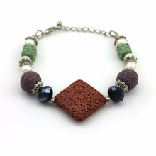 High-grade volcano black lava stone bracelet Yoga Buddha bracelet with lava stone beads for women