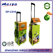 POP Eco-friendly Promotional cardboard trolley handle shopping bag with wheel and handle for leaflet and documents