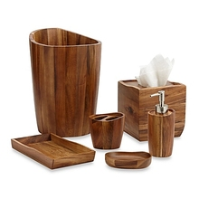 Fashion Acacia Wood Vanity Bathroom Accessories set
