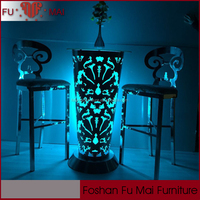 Night club event party used stainless steel led light pub table on sale