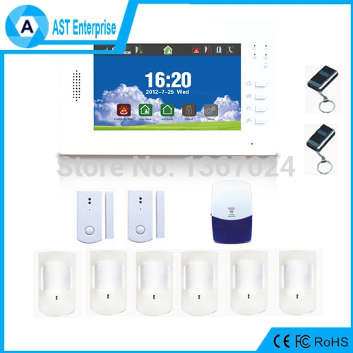 Home surveillance GSM Alarm System 7 inch color screen alarm, Android and iOS app supported