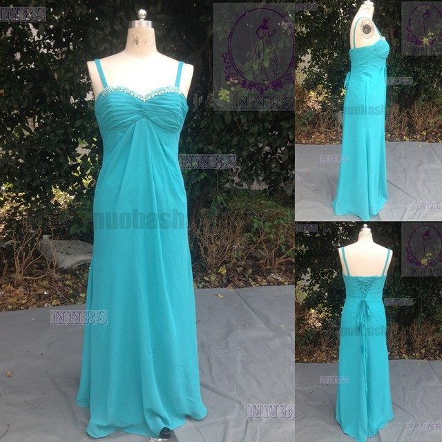 Cheap Real Sample 2015 Aqua Bridesmaid Dress Jeweled Sweetheart High Waist Chiffon Empire Prom Gown With Straps NB1218