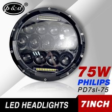 aftermarket led light 7 inch round 75w motorcycle led headlight