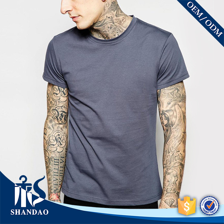 China Shandao supplier new design plain man o-neck short sleeve blank slim fit 60%cotton 40%polyester 120g sweat shirt