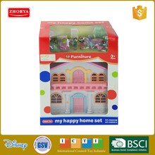 Zhorya kids plastic small villa model house toy with outfit miniature furniture