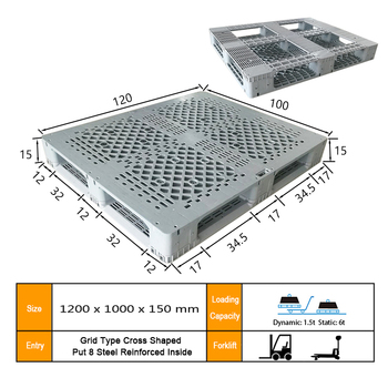 1200*1000*150mm dynamic load capacity 1.5t welding double faced grid plastic pallet
