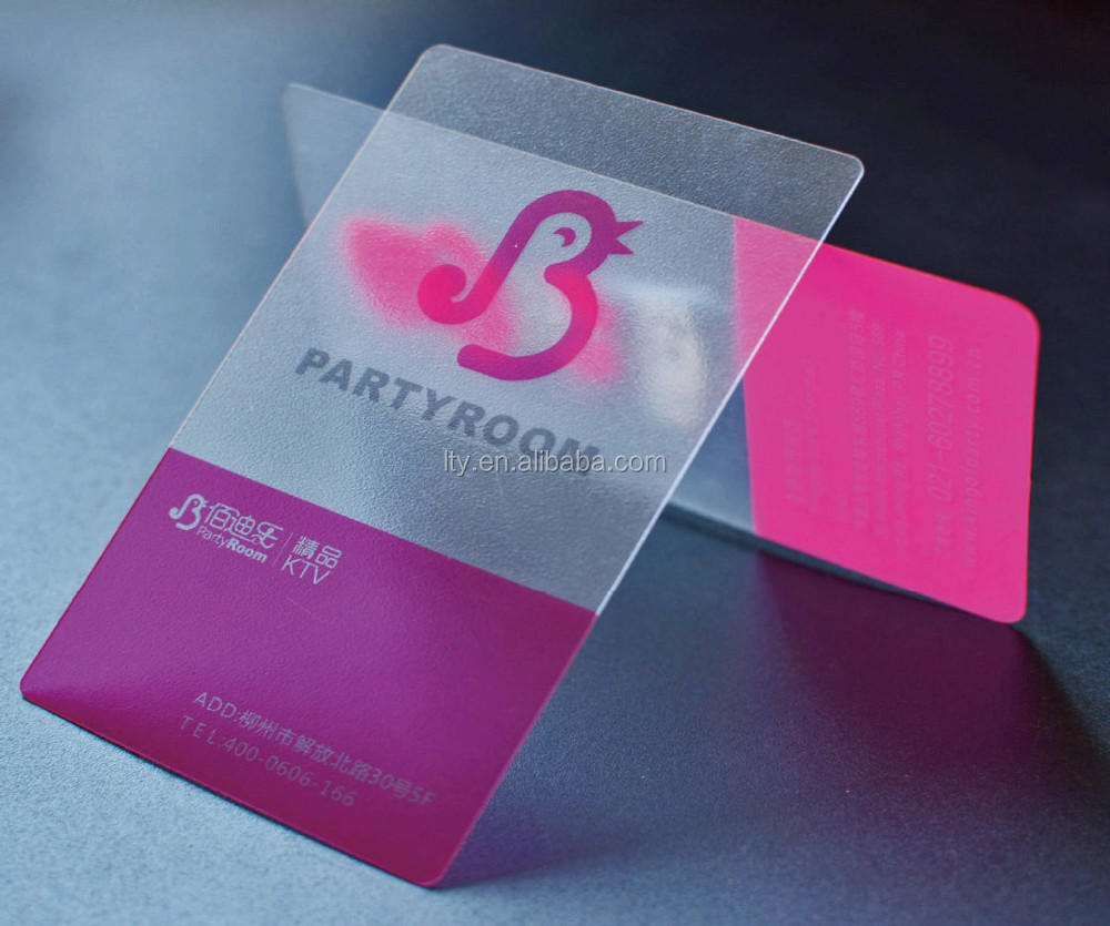 High quality clear frosted plastic business cards