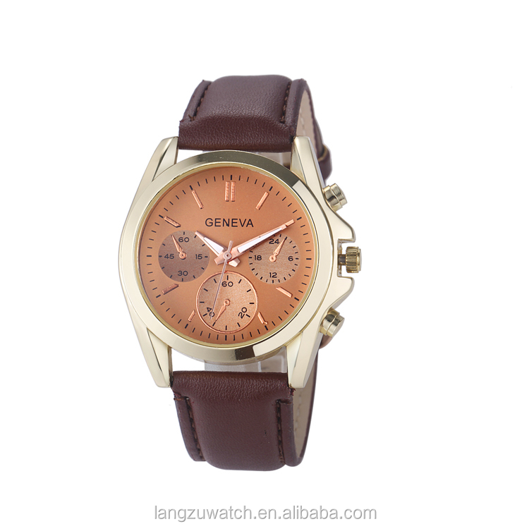 High quality handmade leather strap man watch stainless steel watch with big face