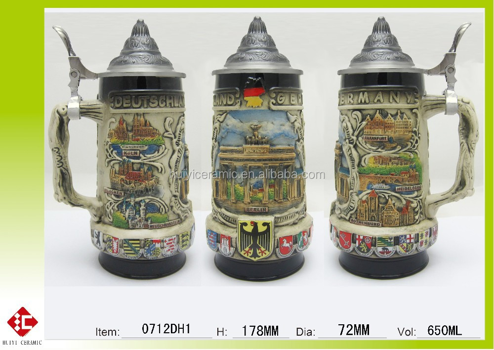 hot sale and new designed hand painted ceramic beer mug with lid