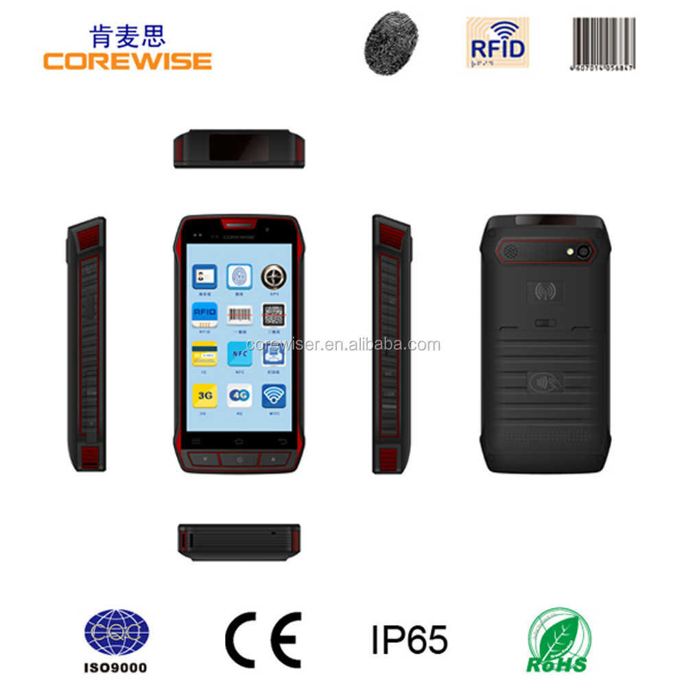 IP65 android smartphone with GPRS/WiFi/Bluetooth/3G/GPS/camera function barcode wireless active uhf rfid wristband reader