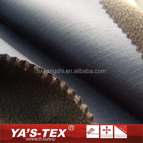 Water Repellent Polar Fleece 3 Layer Laminated Fabric Ribstop Windproof Bonded Fabric