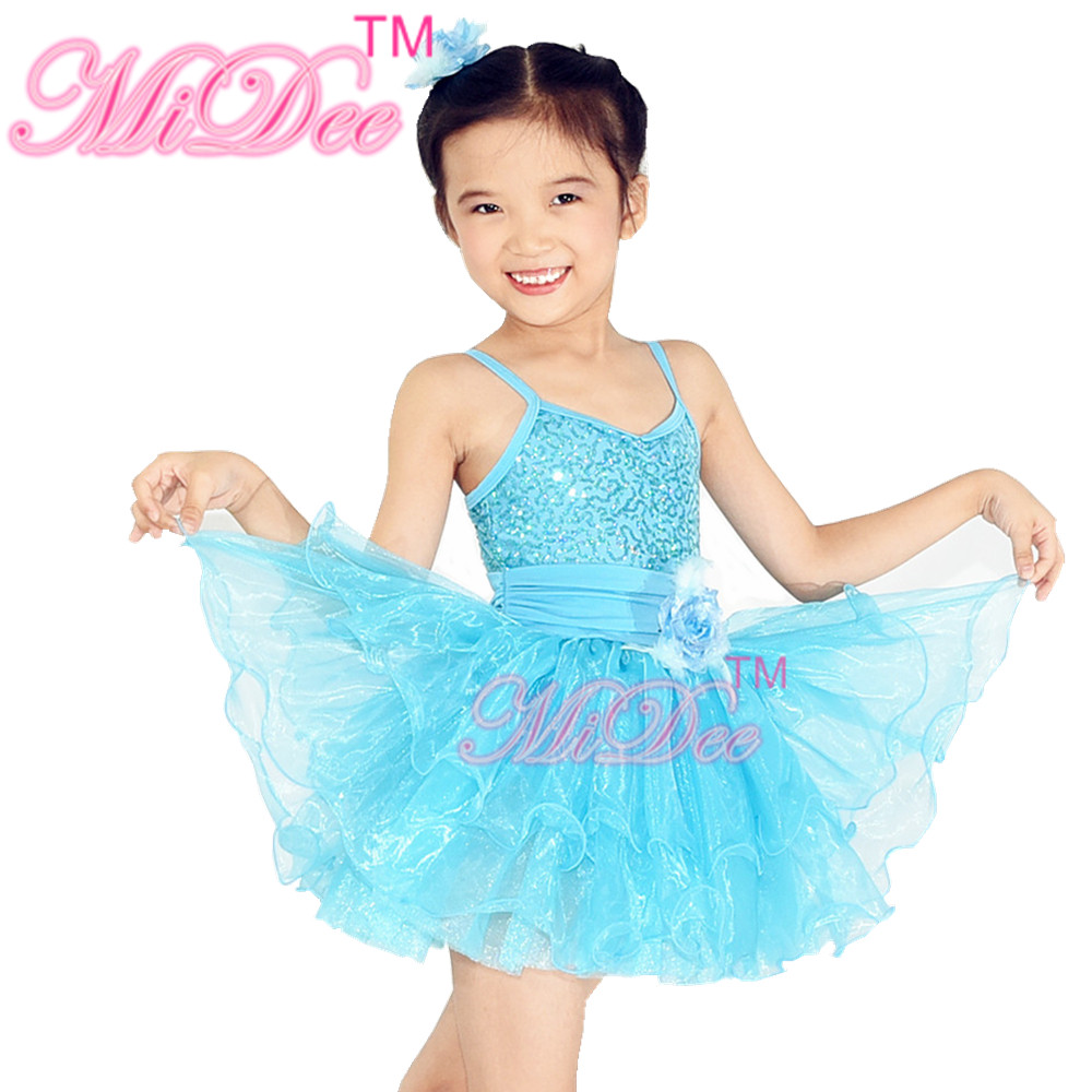 Hot Sale Performance Sequin Organza Skirt For Ballet Dance Costumes Girls Party Dresses
