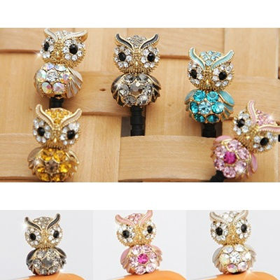 New Crystal Owl Anti Dust Ear Cap For Smart Phone