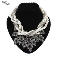 Bridal Cluster Pearl Jewelry Wedding Fancy Costume Multi Layer Pearl Taasel Necklace THX5920
