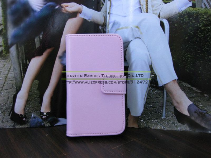 Stand Book Style Genuine Leather Mobile Phone Back Cover Cases Pouch for iPhone 4 4S