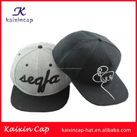 promotional wholesale custom 2015 design your own embroidery logo high quality flat short brim blank grey acrylic snap back cap
