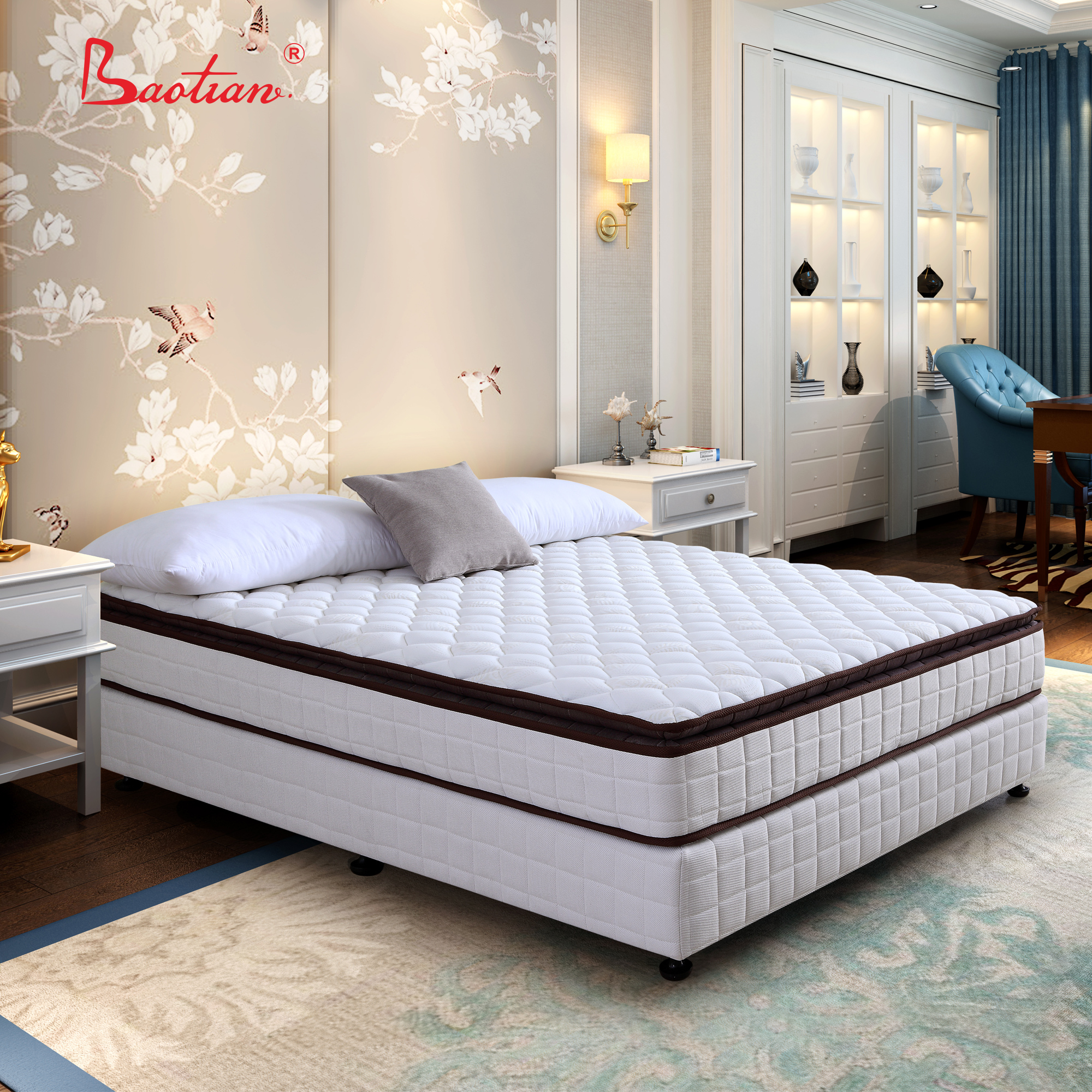 5 star hotel bed mattress with memory foam pillow top or living room sleepwell pocket spring mattress bedroom furniture factory