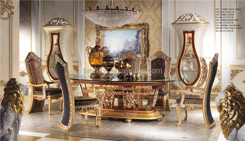 Italian Royal Dining Room Furniture Set, Imperial Wood Carving and Brass Marquetry Inlay Glass Top Oval Dining Table Set