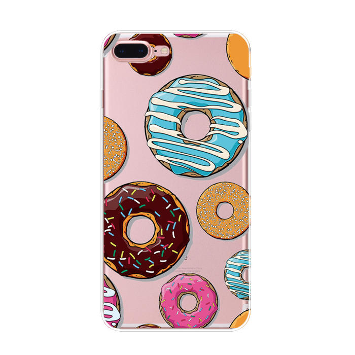 OEM tpu pc donuts design Super Slim plastic Hard phone cover case for iphone 5 6 6plus 7 7plus
