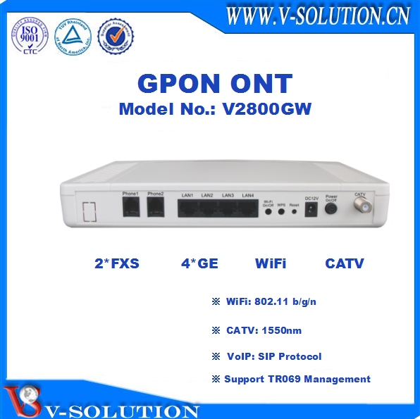 GPON ONT with 4GE+2FXS+WiFi dual band Fully compatible