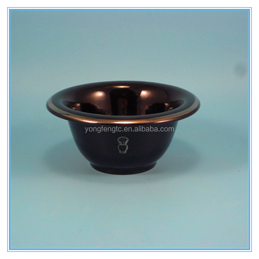 black coating shining gold rim ceramic shaving bowl