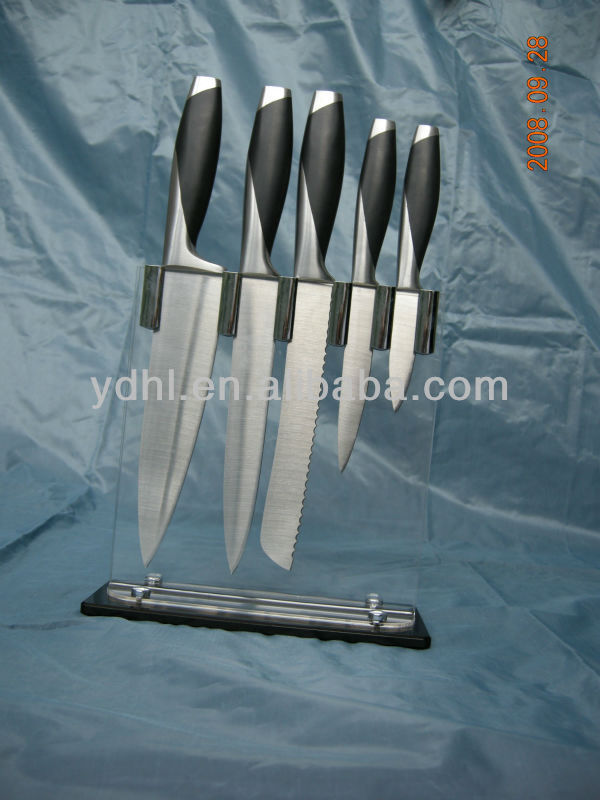 acrylic block laser stainless kitchen knife set