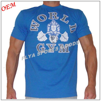 Wholesale cheap 100% cotton 180GSM custom fitness sport plain mens gym t shirt